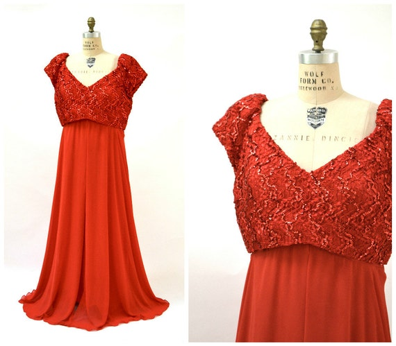 Jahrgang rot Pailletten Kleid Abendkleid Größe 22 XL plus