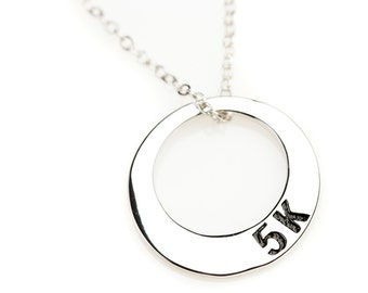 5k Silver Circle Race Necklace, Running Necklace, Racing Necklace, Marathon Necklace, Achievement Necklace, Motivation Necklace