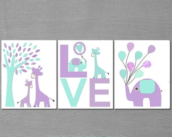 Light Aqua and purple nursery, LOVE Nursery Art Print Set, Kids Room Decor, Baby/Children Wall Art - Giraffe, elephant, balloons