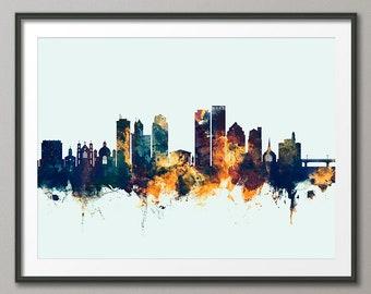 Dayton Skyline, Dayton Ohio Cityscape Art Print Poster (4046)