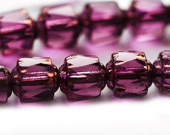 6mm Dark purple cathedral czech glass beads, golden ends, round fire polished beads - 20Pc - 2484