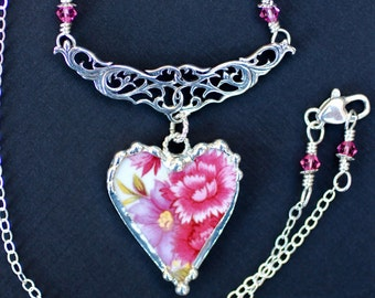 Necklace, Broken China Jewelry, Broken China Necklace, Heart Pendant, Pink and Purple Floral, Sterling Silver