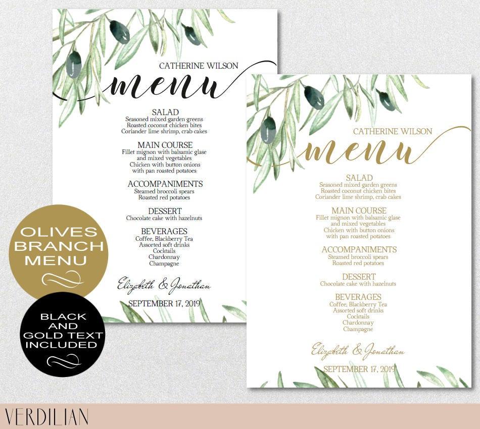 Rustic Wedding Menu Template Olive Branch Menu Template-Green