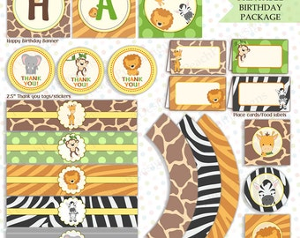 Safari Birthday decorations (INSTANT DOWNLOAD) - Jungle Birthday decorations - Safari water bottle labels - Printable party package MU001