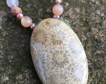 Pretty in Pink Fossilized Coral Necklace