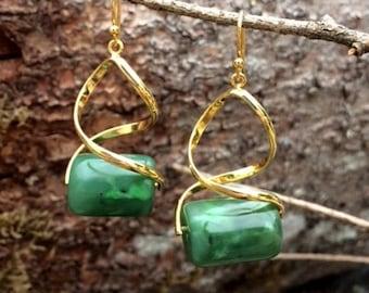 Alaskan Jade Bead Earrings