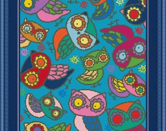 Cute Colorful Night Owls Counted Cross Stitch Pattern in PDF for Instant Download