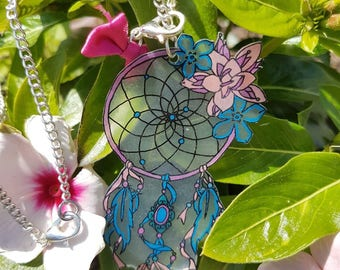 Blue and pink dream catcher necklace