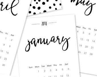 2018 Calendar. 12 Month Desk or Wall Calendar. 2018 Planner. Christmas Gift. Teacher Gift. Hostess Gift. Handlettering Wall Art Office Decor
