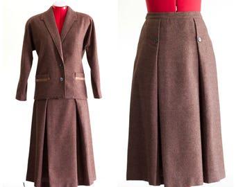 1990s brown wool skirt suit