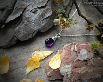 Amethyst necklace, Amethyst jewelry, February birthstone, Gemstone Necklace, Sterling Silver, Purple pendant, Gemstone pendant, Drop pendant