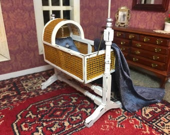 Dollhouse Victorian baby cradle, miniature, blue silk, shabby chic, white and silver, rattan / wicker, 1:12 1/12 1""