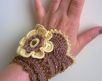 Crochet cuff bracelet, Beaded cuff, Crochet bracelet, Beaded bracelet, Crochet flower, Lace cuff, Crochet cuff with yellow flower