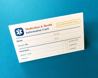 Medical & Health Information Cards - Double-sided, folded cards for you prescriptions, blood type, allergies, emergency contacts and more
