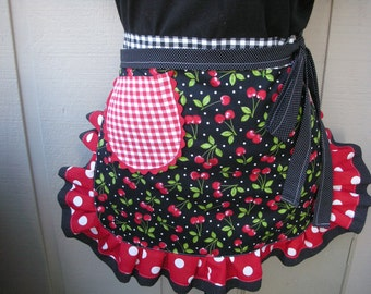 Womens Aprons - Cherry Fabric Aprons - Womens Half Aprons - Red Checked Aprons - Annies Attic Aprons - Red Aprons - Black Aprons -