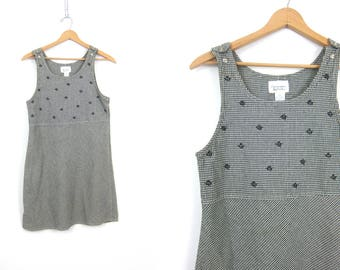 Vintage 90s Small Check Print Dress Black & White Cotton Jumper Bib Mini Dress Checkers Dress Sundress Simple Basic Dress Womens Small