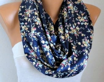 SALE - Blue Floral Satin Infinity Scarf Soft Shawl,Valentine's Gift,Cowl Oversized Wrap Gift For Her Women Fashion Accessories Teacher Gift
