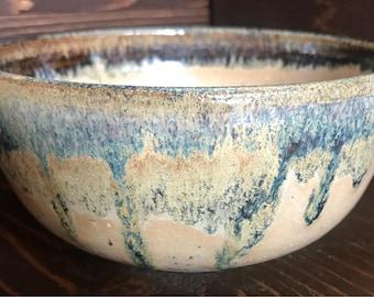 Handmade High Fired Layered Ceramic Bowl, Wheelthrown Modern Kitchenware, Handthrown Birthday Gift, Blue & Orange Cereal Bowl, All Natural