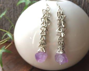 AMETHYST crystal points silvertone triangle chain fringe earrings