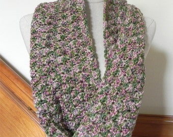 Crochet infinity scarf shades of green, pink and golden yellow, crochet cowl scarf neck warmer is ready to ship, scarf #521