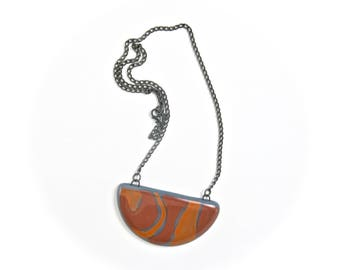 Hand Painted Double Sided Fused Glass Statement Necklace