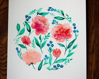 Coral and Navy Floral Watercolor