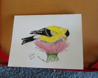 Blank note card and envelope original drawing signed can be framed and used as a picture