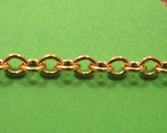 Gold Plated 3mm Oval Cable Chain from Garlan Chain Co. - 3 Feet