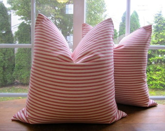 Ticking Stripe Pillow Cover, RED Ticking Pillow Cover 18 x 18, 20 x 20, 22 x 22, 24 x 24