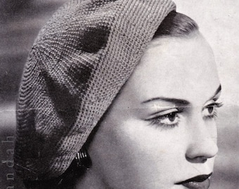 10 x 1950s women's hats, berets, scarves and caps, PDF vintage patterns, crochet and knitting, headwear, stole, skating, cloches, neckwear