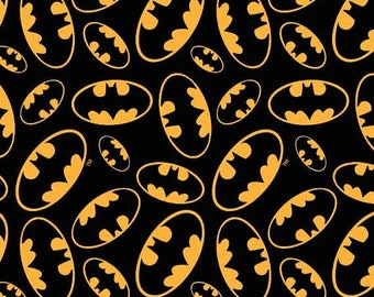 HALF YARD - Tossed Bat Emblems, Cotton Print, Black by David Textiles 100% Cotton   SALE