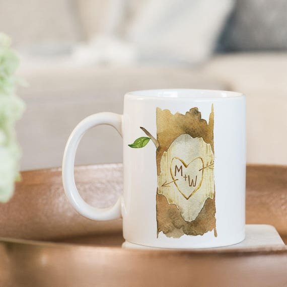 Coffee Mug Carved Initials on A Tree Coffee Mug - Love Coffee Mug - Great Wedding Gift - Personalize with Your Initials