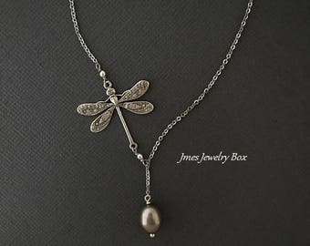 Silver dragonfly lariat necklace with grey freshwater pearl, Silver dragonfly necklace, Silver dragonfly jewelry, Insect necklace