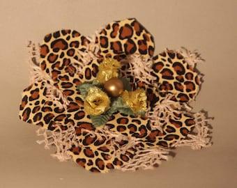 Hair Clip...Leopard on Cream Brooch