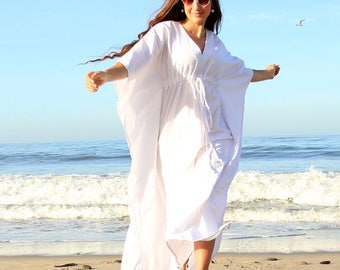 Linen Maxi Dress - Caftan in White, Ivory, or Black - Long Kaftan