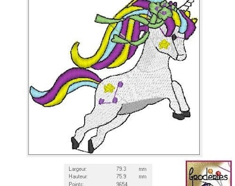 Embroidery file format: Rainbow pony