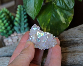 Angel Aura Spirit Quartz Cluster / Wiccan Altar Supplies / Angel Aura Crystal / Crystal Specimen / Cactus Quartz Rainbow Crystal Cluster