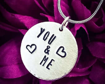 You & Me Hand Stamped Necklace. Love Necklace, Love Jewellery, Heart Necklace, Couple Gift, Soulmate Gift, Girlfriend Gift, Wife Gift