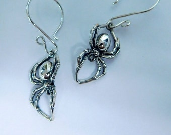 Sterling silver spider earrings, Gothic jewelry, Gothic, spider earrings, black widow jewelry, handmade earwires