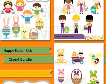 Happy Easter Clipart sale bundle / Kids clip art, babies, bunnies, Easter eggs, basket / Easter digital clip art commercial use