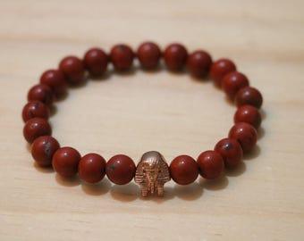 Rose Gold Pharaoh charm, Red gemstone 8mm Bracelet Mens Bracelet, Mens Gift for Boyfriend/Girlfriend Gift Black Beaded Bracelet Gift