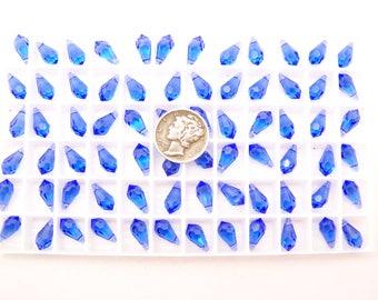 Swarovski 6000 Sapphire 11x5.5mm Vintage Faceted Pendant Drops (3 pieces)