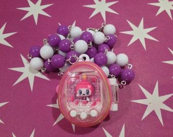Tamagotchi necklace beaded pink tamagotchi necklace pastel cute kawaii fairy kei