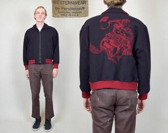 1980s Pendleton ROUND UP Wool Western Zip Up Jacket