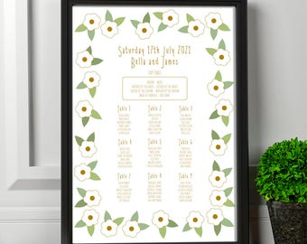 Gold and Spring Green Printable Wedding Seating Chart | Printable Floral Table Plan | Garden Party Seating Plan | Guest Seating Poster