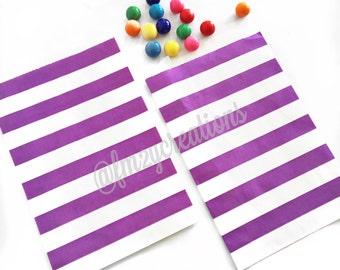 Purple STRIPE Favor Bags   PURPLE Stripe Favor Bags (5x7)   Purple Treat Bags   Wedding Favor Bag   Purple 1st Birthday   Purple Baby Shower