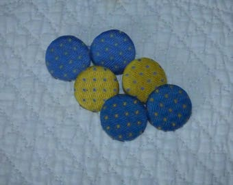 SET OF 6 BUTTONS IN 3 DIFFERENT COLORS COTTON