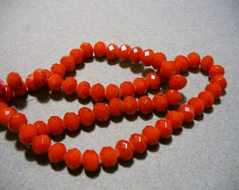 Crystal Beads Faceted Opaque Red Rondelles 8x5MM