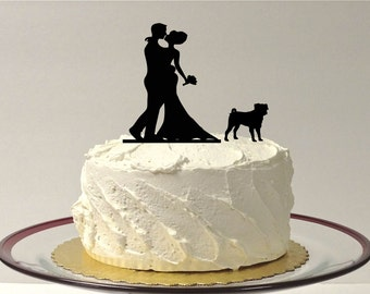 MADE In USA, Wedding Cake Topper Pug Silhouette, Wedding Cake Topper Bride + Groom + Dog Pug Pet, Family of 3 CakeTopper Pug Dog Choice