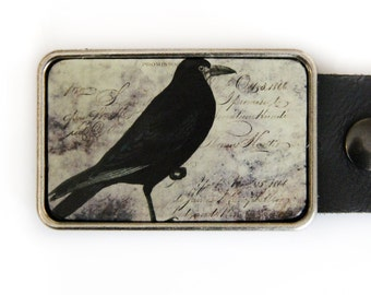 Raven Belt Buckle Vintage Illustration Bird Crow
